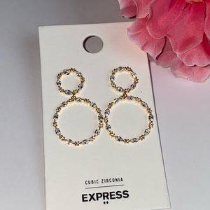 Express Cubic Zirconia Double Circle Earrings